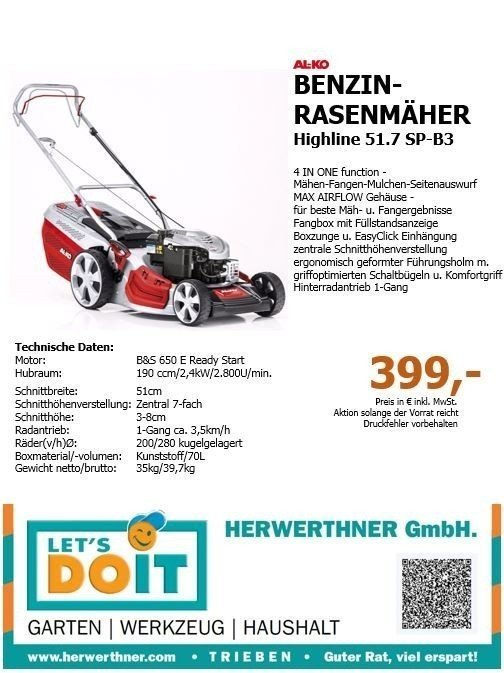 AL-KO ®Benzinrasenmäher Highline 51.7 SP-B3©HERWERTHNER GmbH.