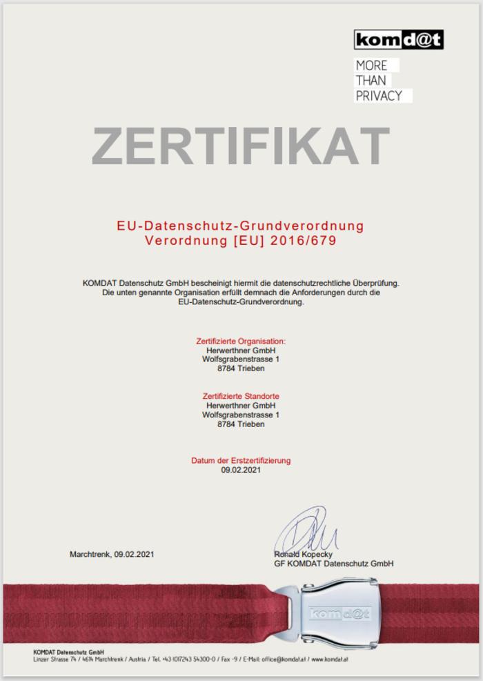 ©komd@t Datenschutz-Zertifikat 2021_HERWERTHNER GmbH. 8784 Trieben