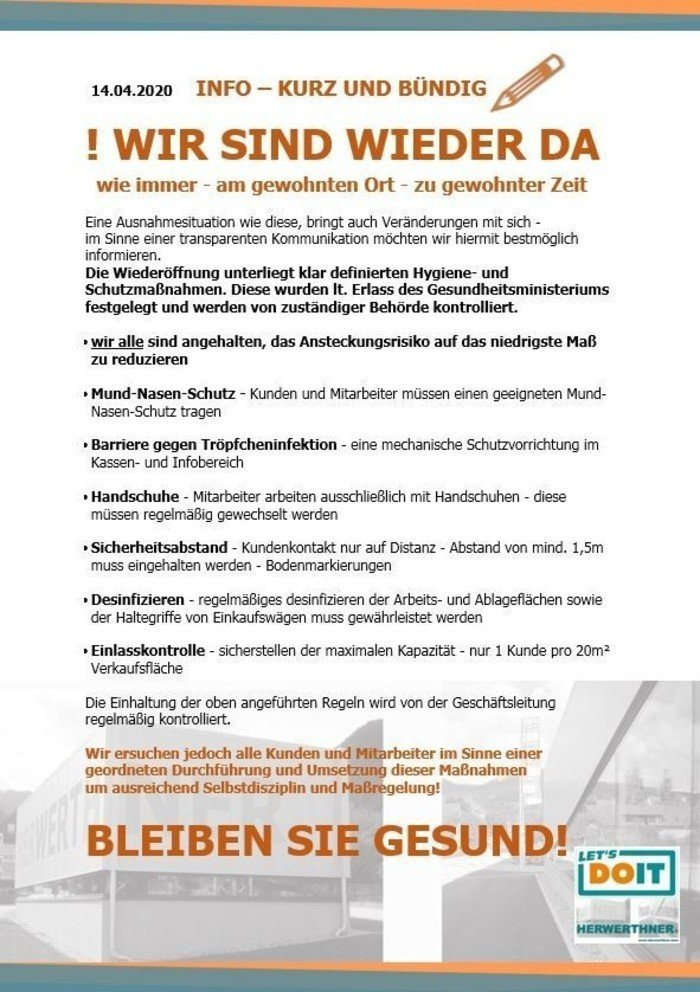 !CORONA_INFO-Öffnungszeiten-wir sind wieder da_©LET'S DOIT HERWERTHNER GmbH. Trieben - GARTEN   WERKZEUG   HAUSHALT