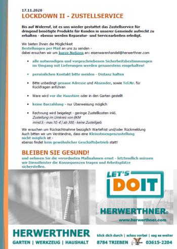 Zustellservice -Lockdown II ©LET'S DOIT HERWERTHNER GmbH. Trieben - GARTEN   WERKZEUG   HAUSHALT